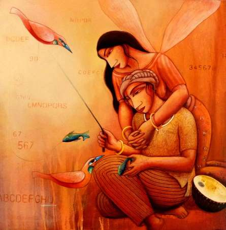 Figurative Acrylic Art Painting title 'Reunion' by artist Samir Sarkar