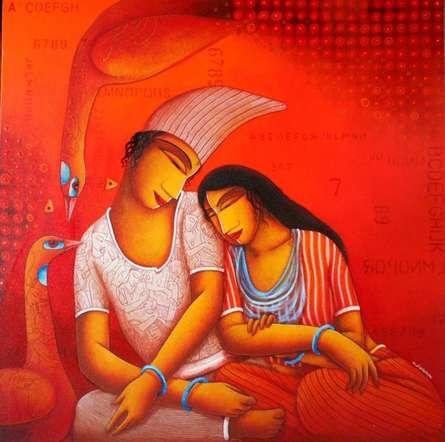 Figurative Acrylic Art Painting title 'Lovers' by artist Samir Sarkar