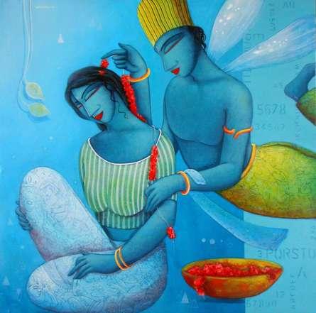 Figurative Acrylic Art Painting title 'Blue Love Couple' by artist Samir Sarkar