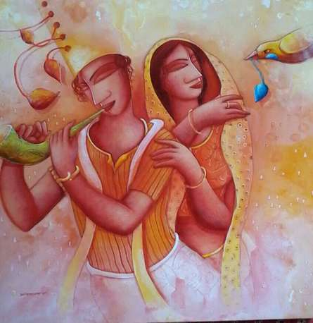 Figurative Acrylic Art Painting title 'Gift of Love' by artist Samir Sarkar