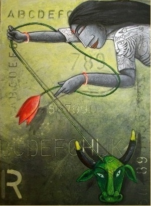 Goddess Durga | Painting by artist Samir Sarkar | acrylic | Paper
