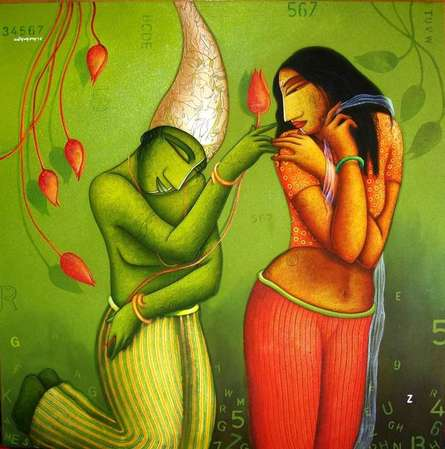 Courtship | Painting by artist Samir Sarkar | acrylic | Canvas