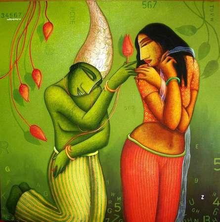 Samir Sarkar | Acrylic Painting title Courtship on Canvas | Artist Samir Sarkar Gallery | ArtZolo.com