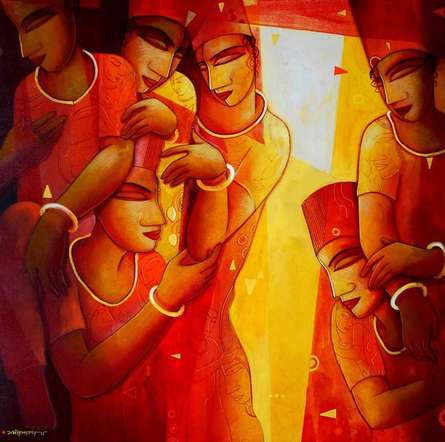 Figurative Acrylic Art Painting title 'Inspiration' by artist Samir Sarkar