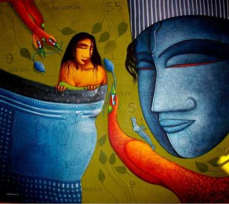Samir Sarkar | Acrylic Painting title Feeling Love on Canvas | Artist Samir Sarkar Gallery | ArtZolo.com