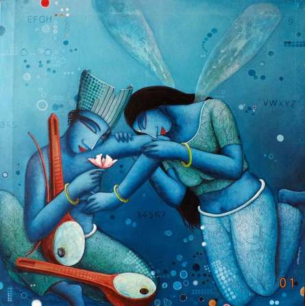 Figurative Acrylic Art Painting title 'Fairy love' by artist Samir Sarkar