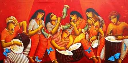 Samir Sarkar Paintings | Acrylic Painting - Sound of Music by artist Samir Sarkar | ArtZolo.com