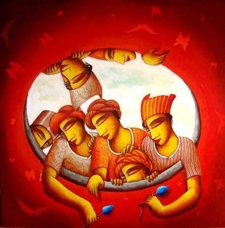 Figurative Acrylic Art Painting title 'Inner Circle' by artist Samir Sarkar