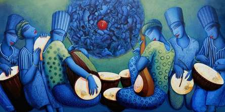 Figurative Acrylic Art Painting title Music Series 3 by artist Samir Sarkar