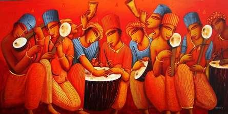 Musicians | Painting by artist Samir Sarkar | acrylic | Canvas