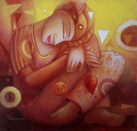 Figurative Acrylic Art Painting title Rest by artist Samir Sarkar