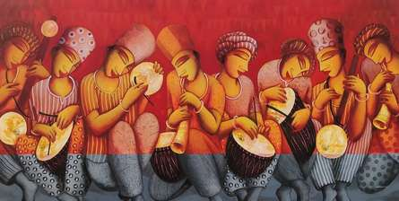 Figurative Acrylic Art Painting title Sounds 2 by artist Samir Sarkar