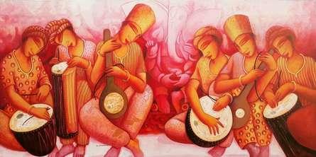 Figurative Acrylic Art Painting title Sounds 3 by artist Samir Sarkar