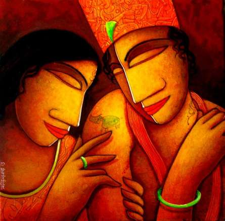 Figurative Acrylic Art Painting title 'Someone Special' by artist Samir Sarkar