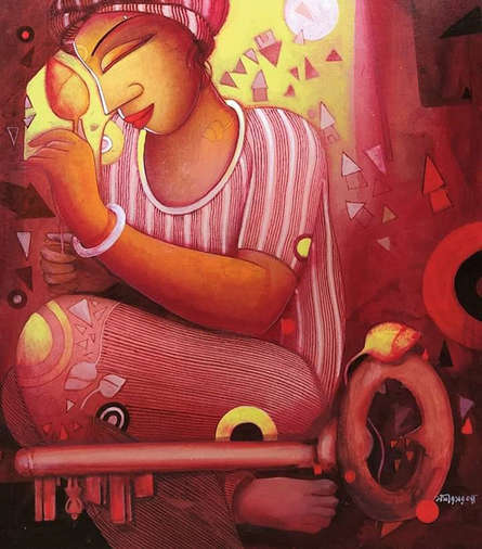 Figurative Acrylic Art Painting title Untitled by artist Samir Sarkar