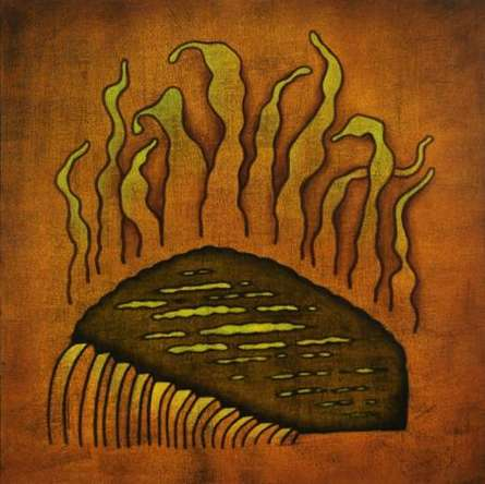 Abstract Oil Art Painting title 'Fire Abstract' by artist Santosh More