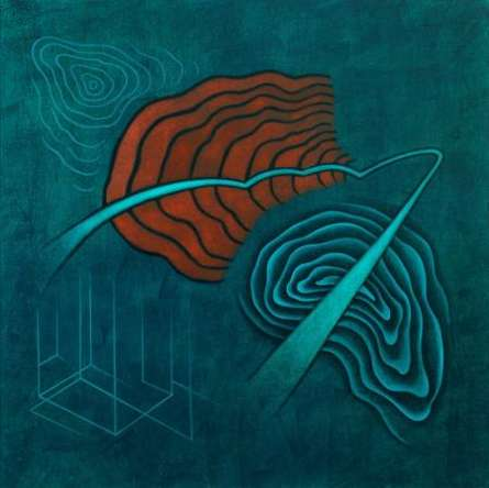 Santosh More Paintings | Oil Painting - Turquoise Abstract by artist Santosh More | ArtZolo.com