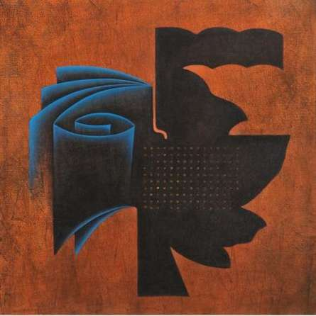 Orange Fold Abstract | Painting by artist Santosh More | oil | Canvas