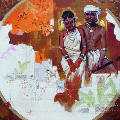 Figurative Acrylic Art Painting title 'Couple' by artist Ramchandra Kharatmal