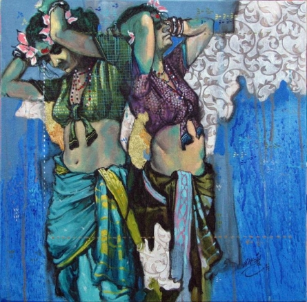 Figurative Acrylic Art Painting title 'Beauty 18' by artist Ramchandra Kharatmal