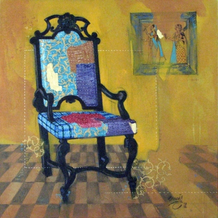 Chair | Painting by artist Ramchandra Kharatmal | acrylic | Canvas