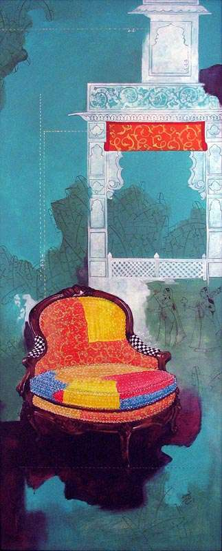 Fantasy Acrylic Art Painting title 'Chair 5' by artist Ramchandra Kharatmal
