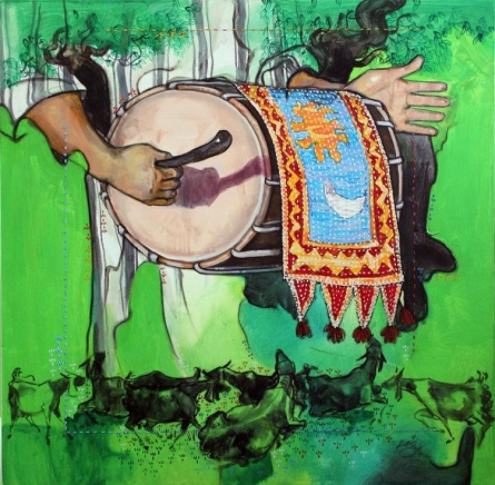 Samvad 2/5 | Painting by artist Ramchandra Kharatmal | acrylic | Canvas