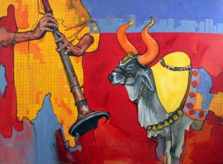 Animals Acrylic Art Painting title 'Samvad 2/7' by artist Ramchandra Kharatmal