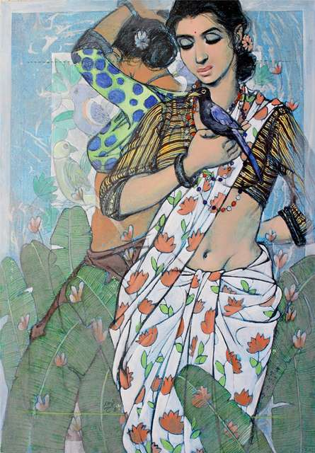 Figurative Acrylic-charcoal Art Painting title Moment 8 by artist Ramchandra Kharatmal