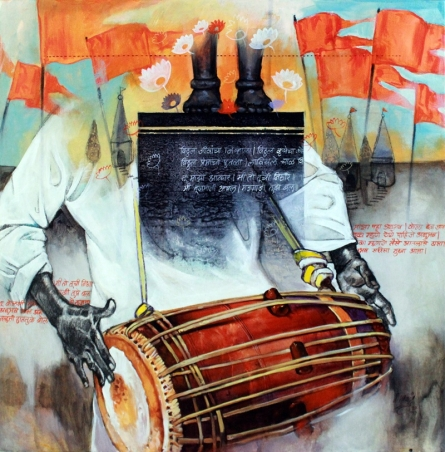Samwad 3 | Painting by artist Ramchandra Kharatmal | acrylic-charcoal | Canvas