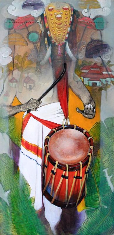 Samwad 5 | Painting by artist Ramchandra Kharatmal | acrylic-charcoal | Canvas