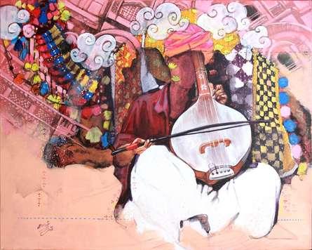 Figurative Acrylic-charcoal Art Painting title 'Samwad 6' by artist Ramchandra Kharatmal