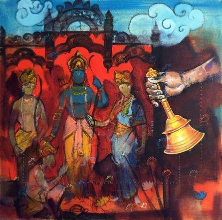 Figurative Acrylic-charcoal Art Painting title 'Samwad 9' by artist Ramchandra Kharatmal