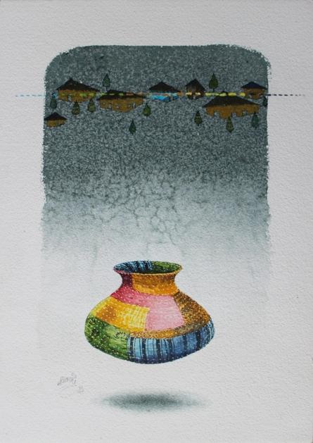 Figurative Acrylic-charcoal Art Painting title 'Beautiful Memories 2' by artist Ramchandra Kharatmal