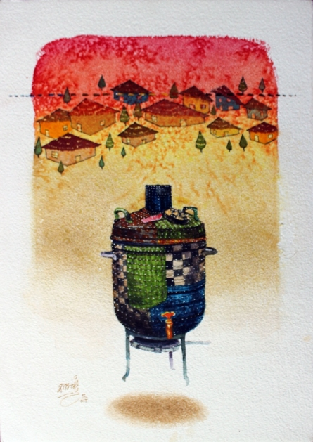 Figurative Acrylic-charcoal Art Painting title 'Beautiful Memory 6' by artist Ramchandra Kharatmal
