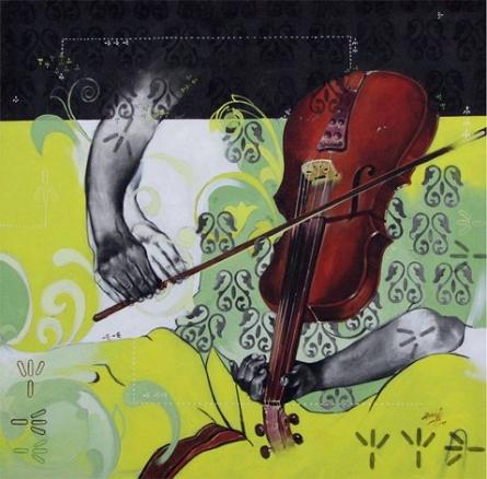 Samvad | Painting by artist Ramchandra Kharatmal | Charcoal | Canvas