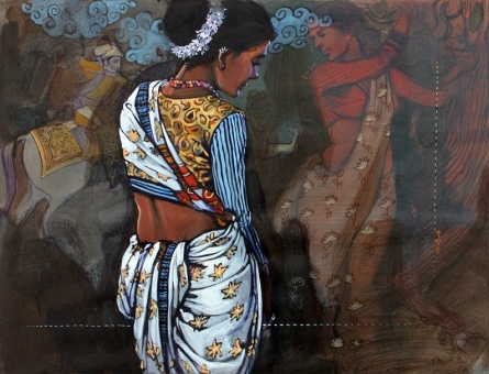 Figurative Acrylic Art Painting title 'Couple 3' by artist Ramchandra Kharatmal