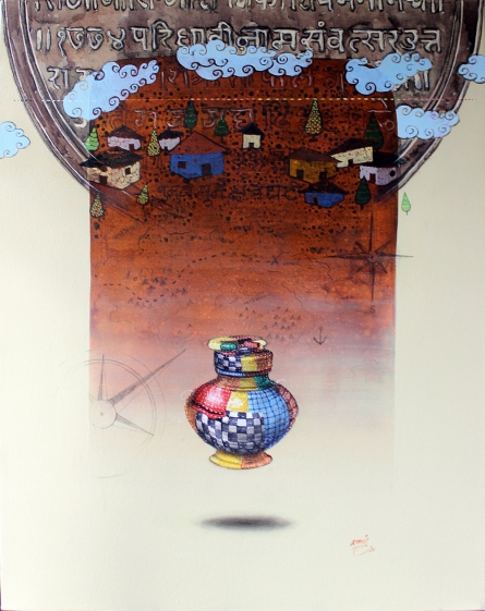 Figurative Acrylic-charcoal Art Painting title 'Memory' by artist Ramchandra Kharatmal