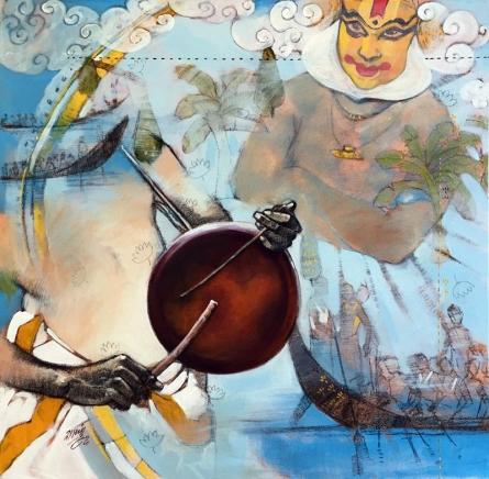 Figurative Acrylic-charcoal Art Painting title Samvad by artist Ramchandra Kharatmal