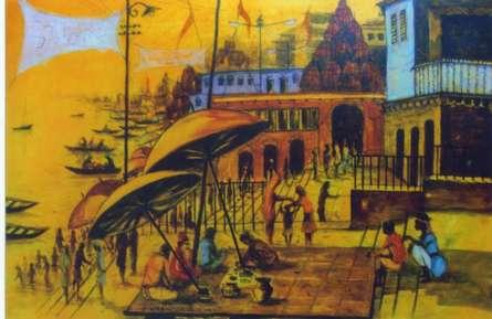 Anirban Seth Paintings | Acrylic Painting - Banaras Ghats by artist Anirban Seth | ArtZolo.com