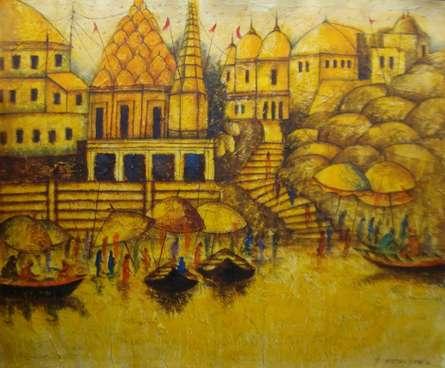 BANARAS | Painting by artist Anirban Seth | acrylic | Canvas Board