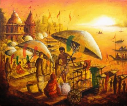 Anirban Seth | Acrylic Painting title Vibrant Ghats Of Varanasi 9 on Canvas | Artist Anirban Seth Gallery | ArtZolo.com