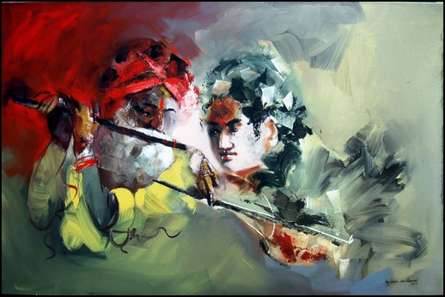 Figurative Acrylic Art Painting title 'Flutist' by artist Kariyappa Hanchinamani