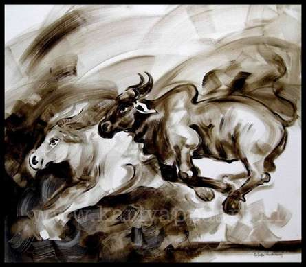 Bulls | Painting by artist Kariyappa Hanchinamani | acrylic | Canvas