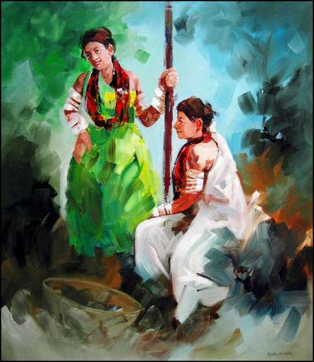 Figurative Acrylic Art Painting title 'Tribal Women' by artist Kariyappa Hanchinamani