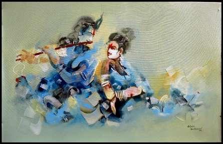 Figurative Acrylic Art Painting title 'Radha And Krishna' by artist Kariyappa Hanchinamani
