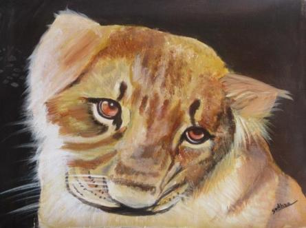 Baby Lion | Painting by artist Sadhna Tiwari | acrylic | Canvas