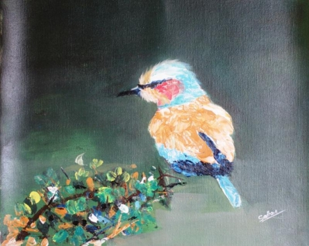 Bird On Twigs | Painting by artist Sadhna Tiwari | acrylic | Canvas