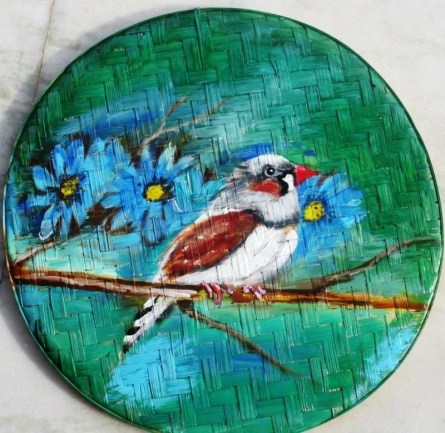 Bird With Flowers | Painting by artist Sadhna Tiwari | acrylic | Bamboo