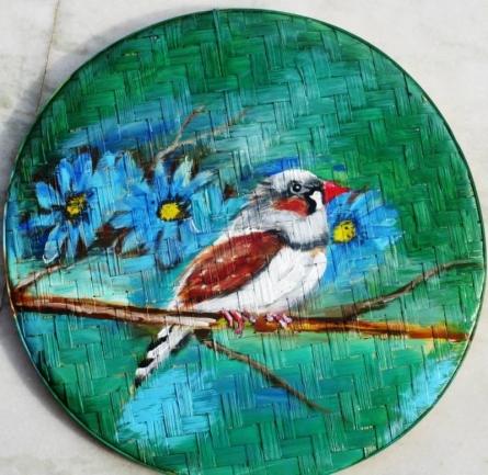 Bird With Flowers   Painting by artist Sadhna Tiwari   acrylic   Bamboo
